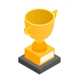 Golden trophy cup isometric 3d icon vector image vector image