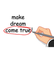hand writing make dream come true vector image