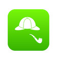 hat and pipe icon digital green vector image vector image
