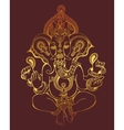 hindu lord ganesha ornate gold sketch drawing vector image vector image
