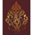 hindu lord ganesha ornate gold sketch drawing vector image vector image