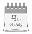 independence day calendar icon monochrome vector image