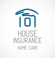 Insurance logo template Human hand covering house vector image vector image