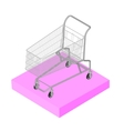 Isometric 3D icon Pictograms supermarket trolley vector image