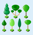 isometric set of green trees of various shapes vector image