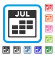 july calendar grid framed icon vector image vector image
