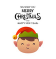 little cute cartoon elf head on white background vector image