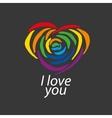 logo heart and rainbow vector image vector image