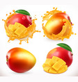 mango juice fresh fruit 3d realistic icon vector image