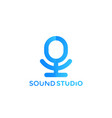 microphone logo mark for sound studio vector image vector image