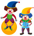 one clown on ball and one juggling vector image