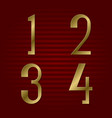 one two three four isolated golden numbers vector image