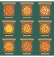 Pizzas in the opened cardboard boxes vector image vector image