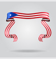 puerto rican flag wavy ribbon background vector image vector image