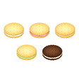 realistic detailed 3d biscuits cookies or sandwich vector image vector image
