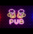 retro neon beer bar sign on brick wall background vector image