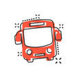 school bus icon in comic style autobus cartoon on vector image vector image