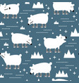 seamless pattern with cute polar bears creative vector image vector image
