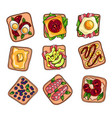 set colorful fresh and tasty homemade sandwich vector image