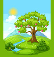 summer landscape with trees mountains and hills vector image