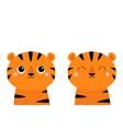 tiger set cute cartoon kawaii funny character vector image