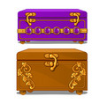 vintage suitcase with floral pattern and buckles vector image vector image