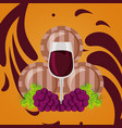 wine wooden barrels cup and grapes vector image