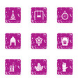 winter kid celebration icons set grunge style vector image