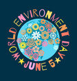 world environment day poster greeting text written vector image vector image