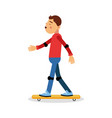 young boy skateboarding cartoon character kids vector image vector image