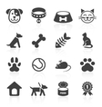 Trendy pet icons isolated on white