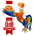 Cartoon cheerful rooster with grilled chicken vector image