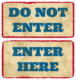 Aged enter signs vector image