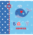 Baby shower with cute whale 3 vector image vector image