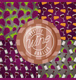 background wine cup barrel grapes decoration vector image