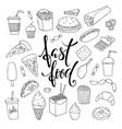 big set hand drawn doodle fast food vector image