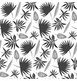 black and white hand drawn ink leaves pattern vector image vector image