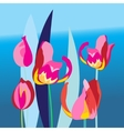 Bright background with multi-colored tulip vector image vector image
