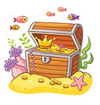 chest with coins and crown vector image