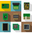 chip icons set flat style vector image vector image