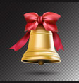 christmas golden bell with red ribbon and a bow vector image vector image