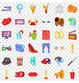 cinematography icons set cartoon style vector image vector image