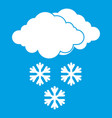 cloud and snowflakes icon white vector image vector image