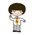 comic cartoon school boy answering question vector image