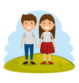 couple of kids characters vector image
