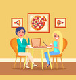 couple on date in pizza restaurant at table vector image