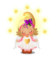 cute animated girl with angel wings smiling with vector image vector image