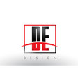 de d e logo letters with red and black colors and vector image vector image