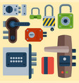different house door lock icons set safety vector image vector image