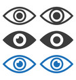 eye flat icons set on white background vector image vector image